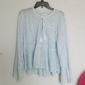 🦋Bell Sleeve Blue Striped Top🦋